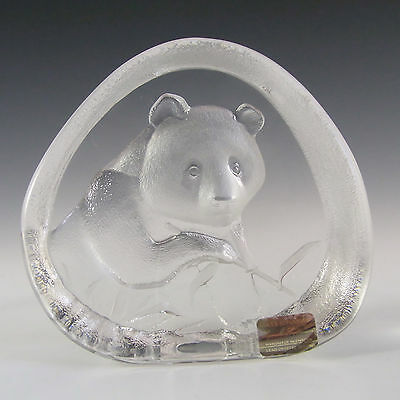 Mats Jonasson Glass Panda Paperweight #3363 - Signed