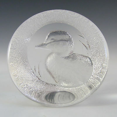 Mats Jonasson Swedish Glass Duck Paperweight - Marked