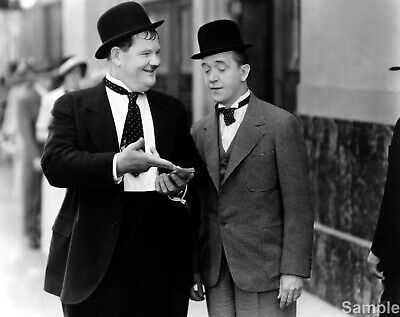 Laurel and Hardy 2 Comedy Actors Black & White 10x8 Glossy Photo Print Poster