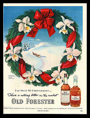 "Original 1951 ""old Forester Bourbon Whiskey"" Christmas Wreath Art Print Ad"