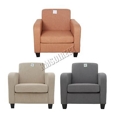 FoxHunter Linen Fabric Tub Chair Armchair Dining Living Room Lounge Office New