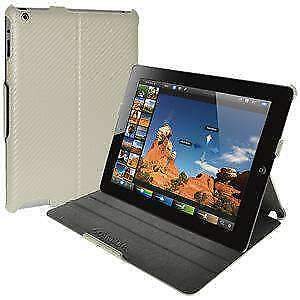 AMZER CARBON FIBER TEXTURE SHELL PORTFOLIO CASE COVER FOR APPLE iPad 3,4 - WHITE