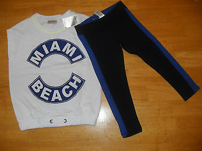 Next Girl's Miami Beach Leggings and Top Outfit, Navy/White, Age 5 & 7 yrs, BNWT