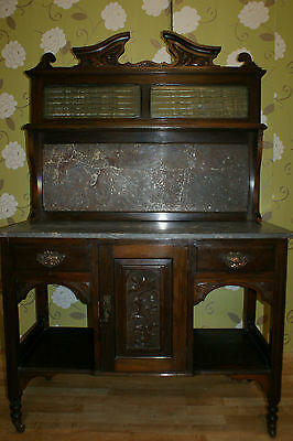 Edwardian Sideboard with Marble Top & Back