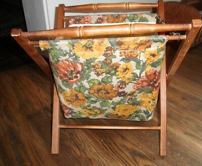 VINTAGE FOLDING WOOD FRAME FABRIC SEWING KNITTING BASKET BAG TOTE STAND