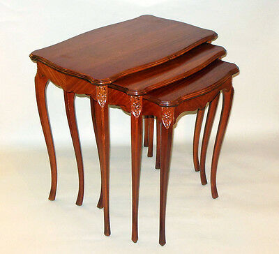 Vintage Set of Three Nesting Tables Warm Honey Tone Wood French Louis XV Style