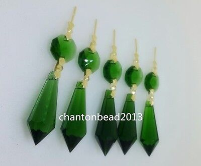 38MM+14MM LARGE GREEN CHANDELIER GLASS CRYSTALS LAMP PRISMS PARTS HANGING DROPS