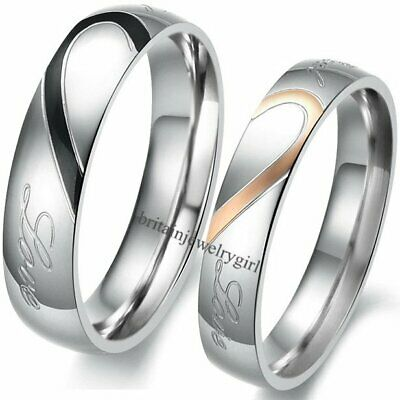"""Matching Heart Stainless Steel Men's Women's Promise Ring """"Real Love""""  Band"""