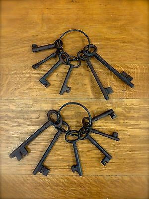 12 ANTIQUE STYLE SKELETON KEYS, 2 sets of 6, cast iron, jailer keys, industrial