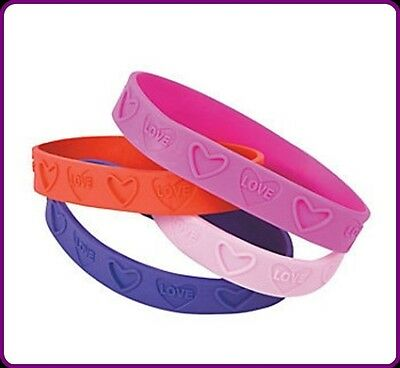 """24 Heart """"Love"""" Bracelets Pink Red Purple Hot Pink Valentines Day Party Favor"""