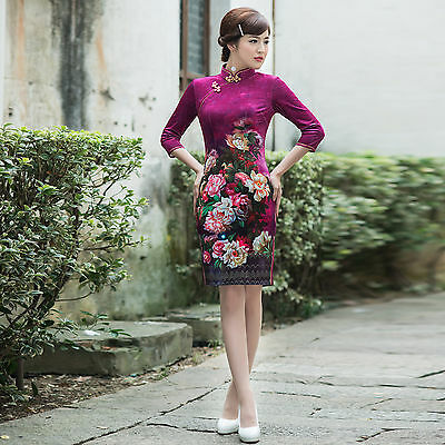 Long Sleeve  Chinese Cheongsam Cheong-Sam Qipao Dress purple-Fast Ship from USA