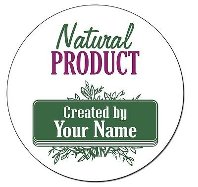 "24 Personalized 1.6"" Round Natural product Stickers Labels Laser Printed Vintage"