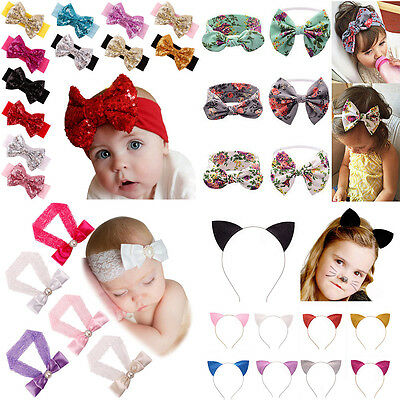 12PCS Kids Girls Baby Toddler Infant Flower Headband Hair Bow Band Accessories
