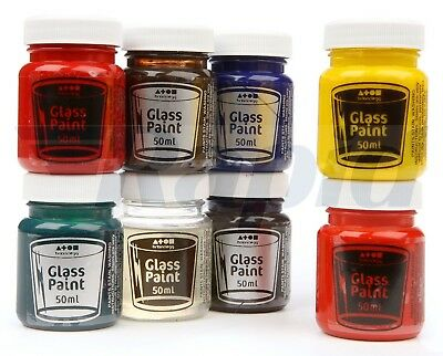 Brian Clegg AK32 Water-Based Glass Paints Set pack of 8 - Glass, Acrylic, Foil