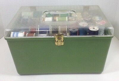 Vintage Sewing Boxes Craft Jewelry Wilson USA Green Plastic Storage Box