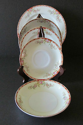 "VINTAGE ""OGDEN"" GRACE/ROYAL CHESTER CHINA (5 Pcs) - Pink Flowers, Red Band"