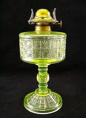 PRISTINE!!   Canary Vaseline   ** TWO PANEL ** OIL LAMP