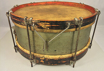 Antique Early Drum with Wood Ends and Metal Sides Heads are Intact No Makers Mar