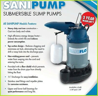 Saniflo Sanipump 1/2 Hp Submersible Sump Pump
