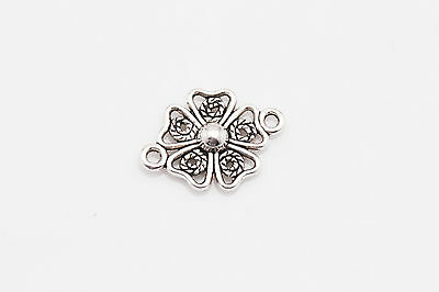 New Free Shipping 15Pcs Tibetan Silver Jewelry flowers Findings Connectors ZA230