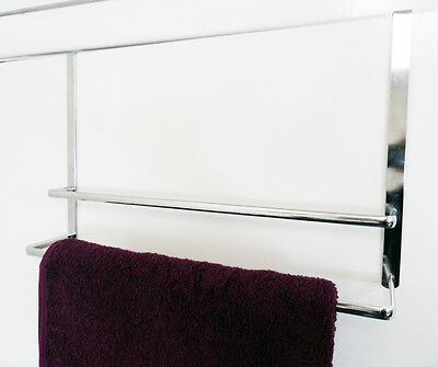 Chrome Heavy Duty Over Door Hanger Storage Double Towel Rail