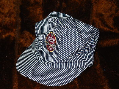 GRAPEVINE VINTAGE RAILROAD CONDUCTORS HAT CAP HICKORY PIN STRIPE RAPID TRANSIT