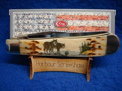 (MADE IN USA) KNIFE - COLOR SCRIMSHAW by HARBOUR of 2 WOLVES No Reserve