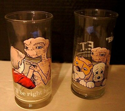 "E.T. Glasses~2~1982 Pizza Hut Collector Series ""Home"" & ""I'll Be Right Here"""