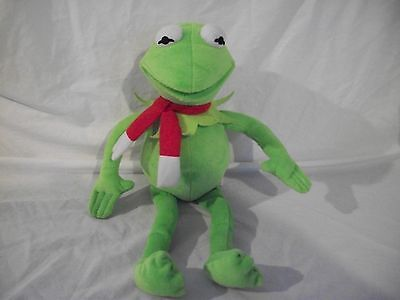 "THE MUPPETS KERMIT THE FROG STUFFED PLUSH DOLL IN RED NECK SCARF 17"" TALL CUTE"