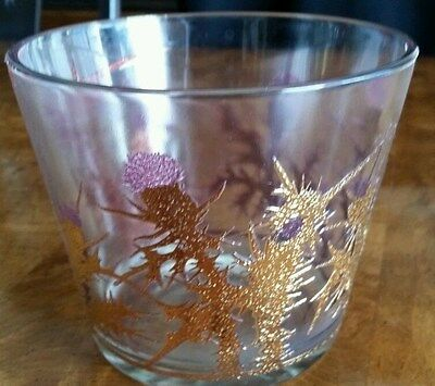 VTG MID CENTURY GOLD ENCRUSTED GREGORY DUCAN  GLASS ICE BUCKET