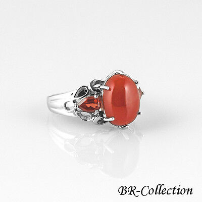 Sterling Silver Ring with Semi-Precious Carnelian & Garnet Gemstones