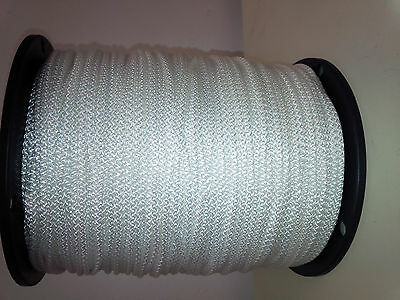 "Solid Braid Rope (#4)  1/8"" x 1000ft  White Utility Cord"