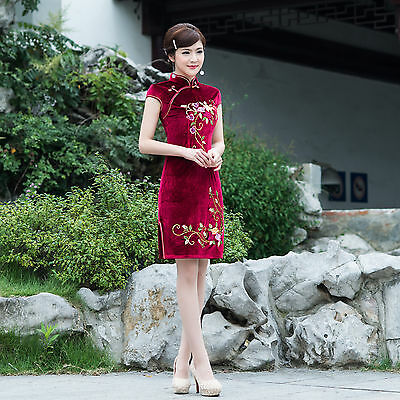Short Sleeve  Summer Chinese Cheongsam Cheong-Sam Qipao Dress-Fast Ship from USA