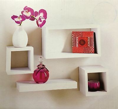 Set of 4 Floating Wall Storage Display Unit Cubes Shelves Shelf White - 270095