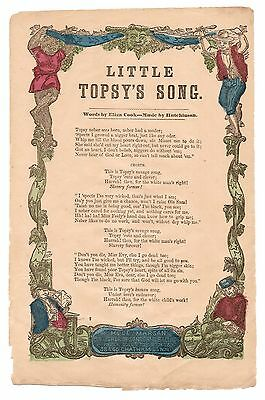 Little Topsy's Song, Song Sheet by H. De Marsan, 1860s, Color Stamped