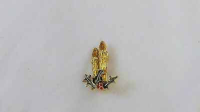 Vintage CHRISTMAS Brooch Pin CANDLES Gold Tone Enamel Rhinestones (M22)