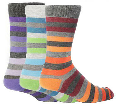 3 Pairs of Mens Giovanni Cassini NEW YORK Striped Everyday Socks, UK Size 6-11