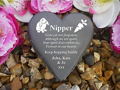 Rabbit Memorial - Floral Heart - Completely Weatherproof & Personalised (2)
