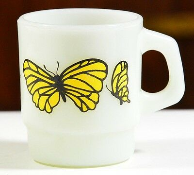 Vintage Coffee Cup Milk Glass Yellow Butterfly Retro White