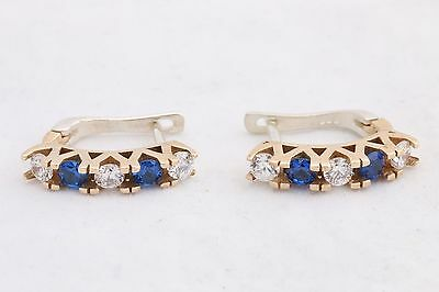 Turkish Handmade Gold Color Plated Sapphire Topaz 925 K Sterling Silver EarRings