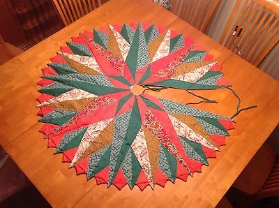Vintage Quilted Handmade Christmas Tree Skirt