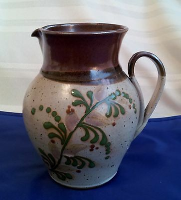 """Rinny Art Pottery Signed by Haring 7"""" Pitcher,  Brown, Tan, Green, Taupe"""