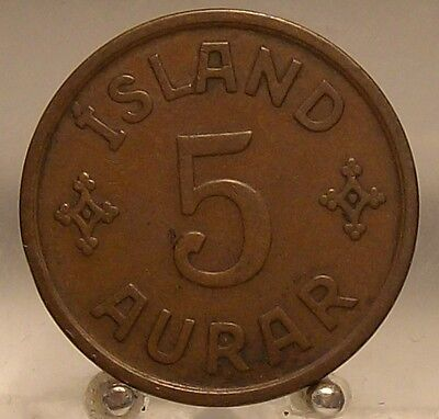 1926 Iceland Bronze 5 Aurar, Old World Bronze Coin, Scarce 2 year Type