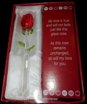 Valentines Day Red Glass Rose box gift set NEW
