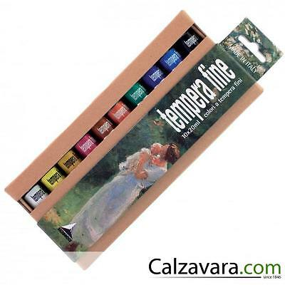 Maimeri 2598100 - Tubi Tempera Fine 20ml - 10 Colori Assortiti in Cartoncino