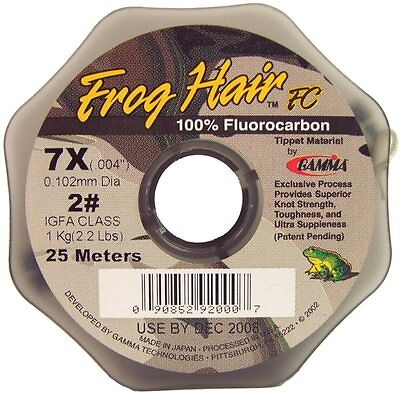 Gamma NEW Frog Hair Fluorocarbon 25m and 100m Fly Fishing Tippet All BS's