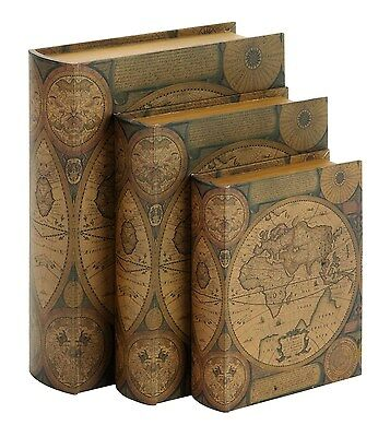 Benzara Beautifully Designed Wood Leather Book Box, Set of 3 Home Décor New