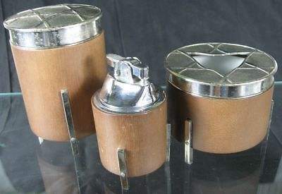 Vintage 1950's Retro Danish Modern Wood & Chrome Table Top Lighter Ashtray Set