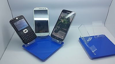 LOT 5 NEW STAND HOLDER CELL PHONE DISPLAY 3 in 1 HOT BLUE