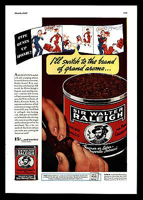 "Original 1937 ""sir Walter Raleigh Pipe Tobacco"" Louisville, Kentucky Print Ad"